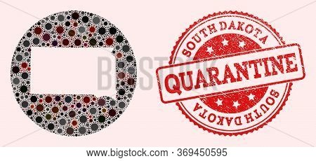 Vector Map Of South Dakota State Collage Of Coronavirus And Red Grunge Quarantine Stamp. Infection C