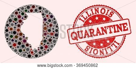 Vector Map Of Illinois State Mosaic Of Flu Virus And Red Grunge Quarantine Seal Stamp. Infection Cel