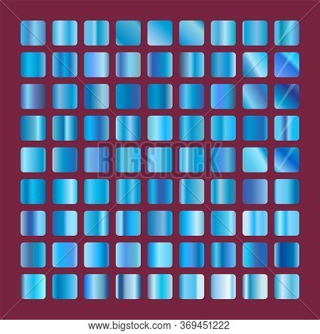 Blue Squares Glass Collection. Background Glassworks Texture Icon. Set Of Blue Gradients. Elegant Bl