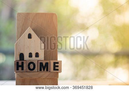 Miniature Home Put On Cube Blocks Spelling