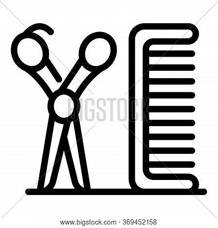 Scissors Groomer Comb Icon. Outline Scissors Groomer Comb Vector Icon For Web Design Isolated On Whi