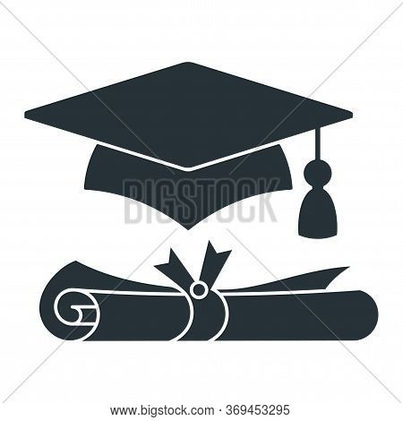 Graduation Cap With Diploma Vector Black Icon. University Mortarboard. Badge For Banner, Poster Or F