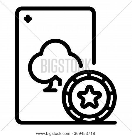 Casino Lucky Play Card Icon. Outline Casino Lucky Play Card Vector Icon For Web Design Isolated On W