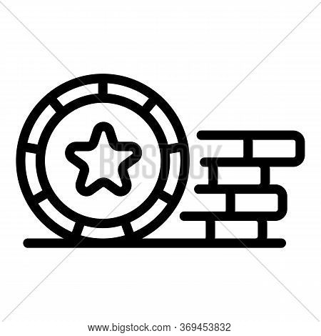 Lucky Casino Coins Icon. Outline Lucky Casino Coins Vector Icon For Web Design Isolated On White Bac