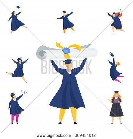 Happy Graduated Students. Group Of Boys And Girls Celebrating University Graduation. Flat Cartoon Ve