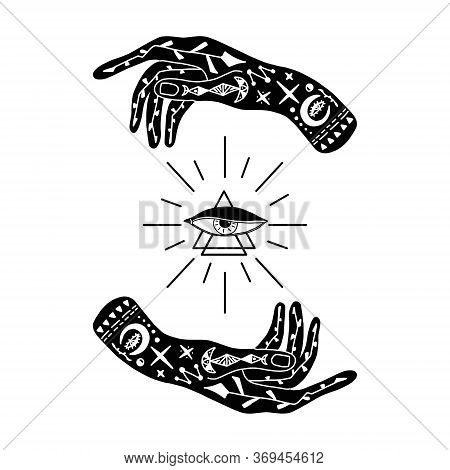 Vector Illustration Of Hands With Tattoos, An Alchemy Symbol With A Triangle And An Eye With Rays. A