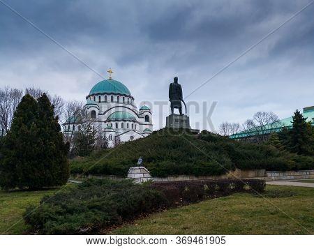Belgrade / Serbia - February 7, 2020: Karadjordje Monument And The Church Of Saint Sava Or Saint Sav