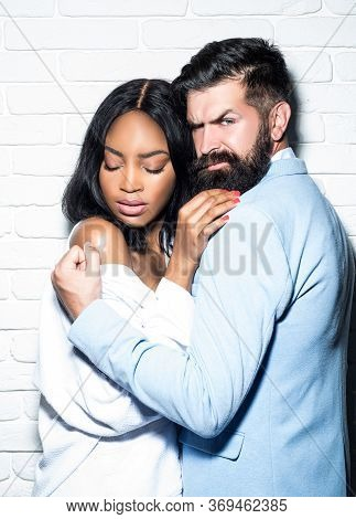 Sexy Couple. Sensual Young People In Love. Beautiful Woman Near The Man. Tender Passion. Young Lover