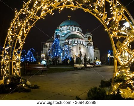 Church Of Saint Sava Or Saint Sava Temple  (hram Svetog Save) And A Park In Front Of The Temple Deco