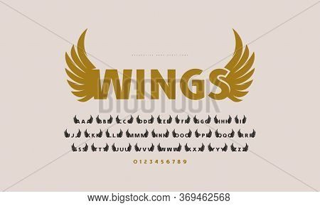 Initial Sans Serif Font With Wings Silhouettes. For Military And Sport Logo, Emblem And T-shirt Desi