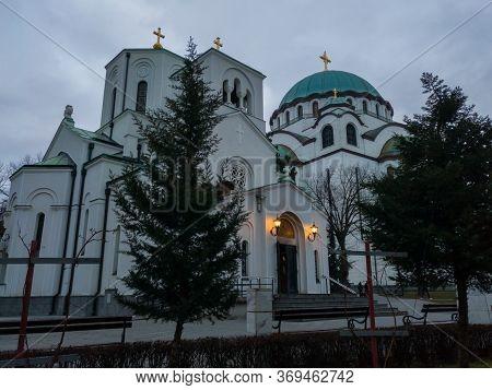 Belgrade / Serbia - February 7, 2020: Small Church Of Saint Sava Next To The Saint Sava Temple (hram
