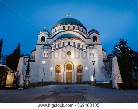 Church Of Saint Sava Or Saint Sava Temple  (hram Svetog Save) On The Vracar Plateau In Belgrade, Ser