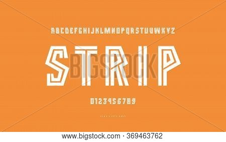 Striped Geometric Sans Serif Font. Bold Face. Letters And Numbers For Athletic Logo And Title Design