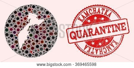 Vector Map Of Kamchatka Peninsula Mosaic Of Flu Virus And Red Grunge Quarantine Seal. Infection Cell