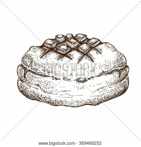 Round Rye Bread Isolated On White. Hand Drawn Traditional Brown Rustic Loaf Doodle Icon. Fresh Baked