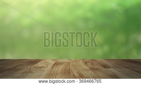 Wood Table Top On Blurred Nature Green Glowing Warm Bokeh Sunny Light  Background For Montage Or Dis