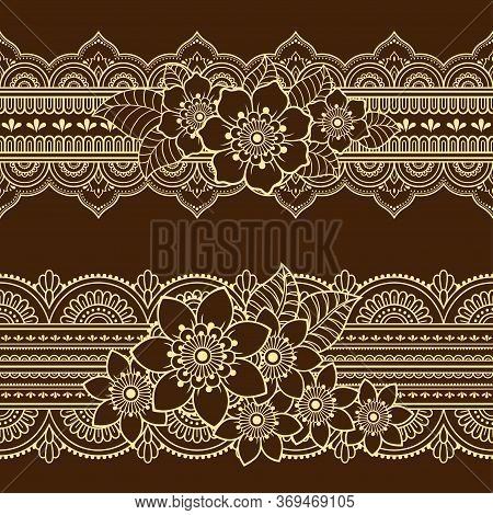 Set Of Seamless Borders Pattern With Mehndi Flower For Henna Drawing And Tattoo. Decoration In Ethni
