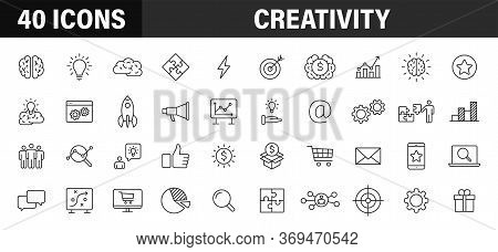 Set Of 40 Creativity And Idea Web Icons In Line Style. Creativity, Finding Solution, Brainstorming,