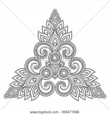Mehndi Flower Pattern For Henna Drawing And Tattoo. Decoration In Oriental, Indian Style. Doodle Orn