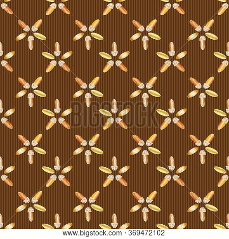 Almond Nut Vector Seamless Pattern Background. Golden Oval Seeds On Chocolate Brown Backdrop. Geomet
