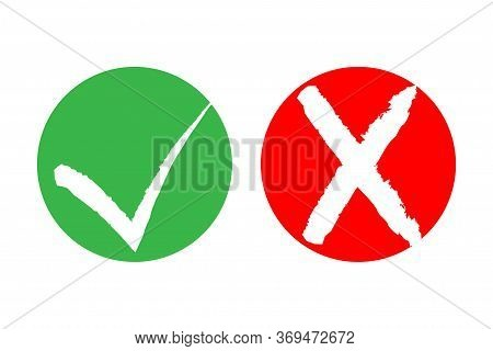 Checklist Marks Tick And Cross. Colorful Yes, No Symbolic Signs. Approval Tick And Rejection Cross.