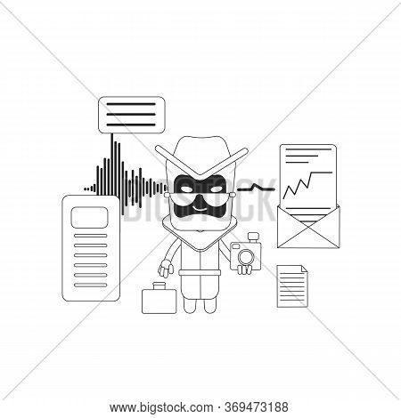 Spy Bot Thin Line Concept Vector Illustration. Messages Spying Software. Collecting Personal Informa