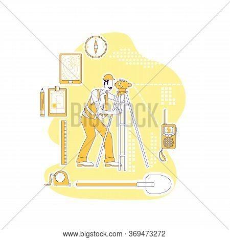 Surveyor Thin Line Concept Vector Illustration. Geodesist, Man With Optical Level 2d Cartoon Charact
