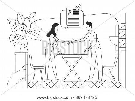 Personnel Hiring Thin Line Vector Illustration. Hr Manager And Candidate Outline Characters On White