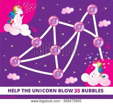Help The Unicorn Blow 35 Bubbles. Color Elementary Arithmetic Maze Game For Children. Puzzle. Math S