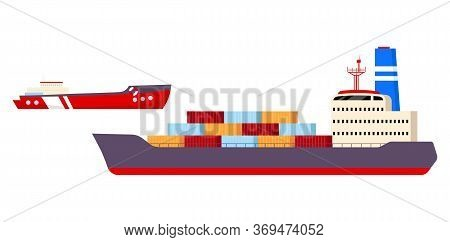 Freight Ships Flat Color Vector Objects Set. Industrial Nautical Vessels 2d Isolated Cartoon Illustr
