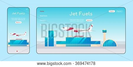 Jet Fuels Adaptive Landing Page Flat Color Vector Template. Airline Company Mobile And Pc Homepage L