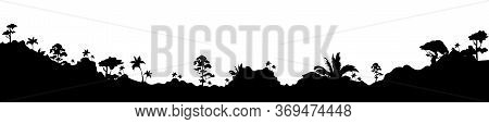 Jungle Black Silhouette Vector Illustration. Panoramic Valley With Trees And Bushes. Subtropical Mea