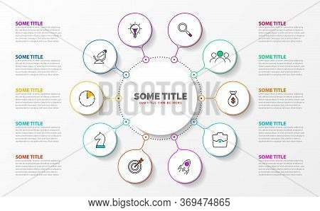 Infographic Design Template. Creative Concept With 10 Steps. Can Be Used For Workflow Layout, Diagra
