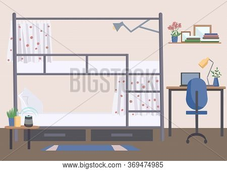 Hostel, Dorm Room Flat Color Vector Illustration. University Dormitory, Accommodation 2d Cartoon Int