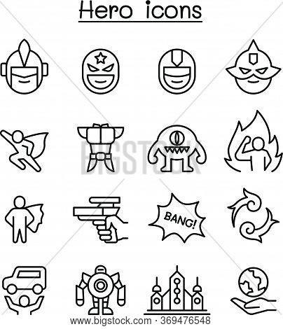 Hero Icon Set In Thin Line Style