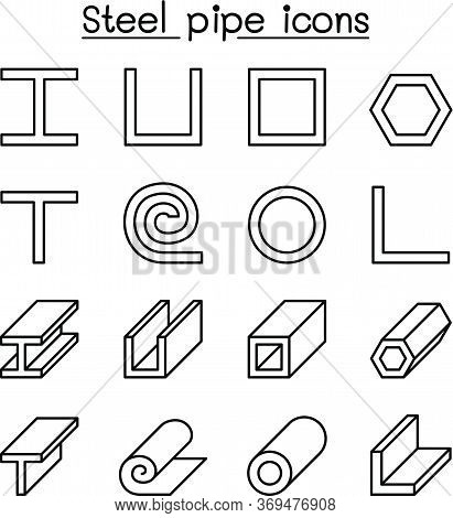 Steel Pipe Icons Set In Thin Line Style Vector Illustration Graphic Design