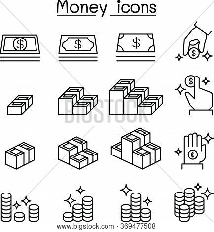 Money , Cash, Coin , Currency Icon Set In Thin Line Style Vector Illustration Graphic Design