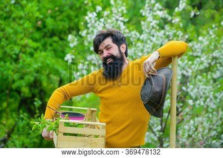 Eco Farm. Farm. Bearded Gardener With Gardening Tools. Spring Farming. Gardener Work. Man Farmer. Ga