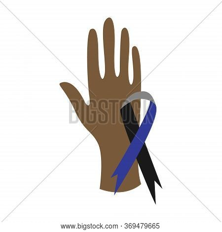 Black Lives Matter. Human Hand. Symbol Of Support For Law Enforcement, Awareness Ribbon. Social Issu
