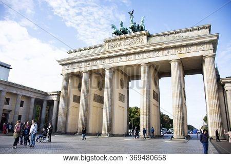 German People And Foreigner Travelers Visit Brandenburger Tor Or Brandenburg Gate Symbolize Victory