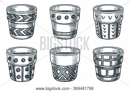 Empty Flower Pots Set, Isolated On White Background. Vector Hand Drawn Sketch Illustration. Plants C