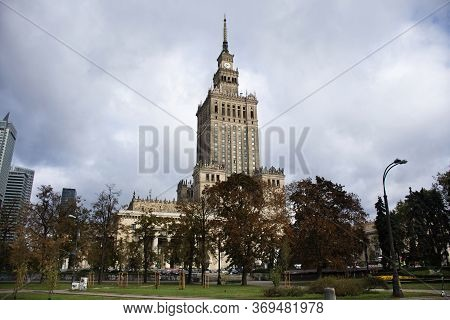 Warsaw, Poland - September 18 : View Landscape And Cityscape With Clouds Sky Of Congress Hall Or Sal