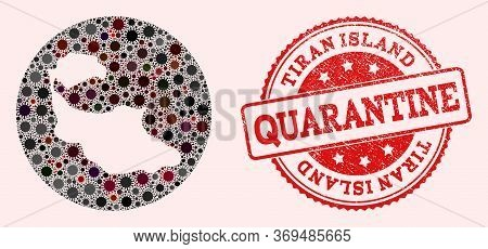 Vector Map Of Tiran Island Mosaic Of Sars Virus And Red Grunge Quarantine Seal. Infection Cells Arou