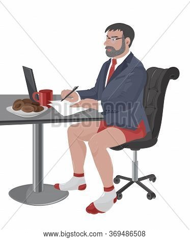 Mature Man With Beard And Glasses Working On Laptop While Wearing Suit Jacket And Red Underwear. Cof