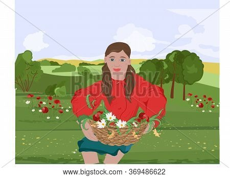 Happy Woman With Red Lips And Jacket Sitting On Grass While Holding On Her Lap A Basket With Flowers