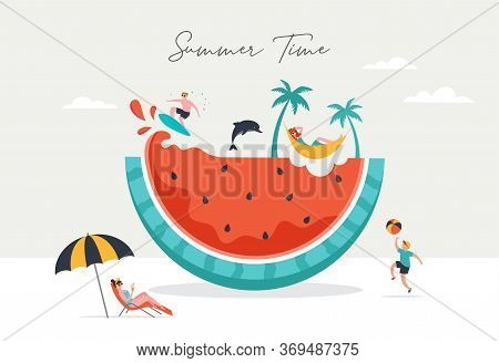 Summer Scene, Group Of People Having Fun Around A Huge Watermelon, Surfing, Swimming In The Pool, Dr