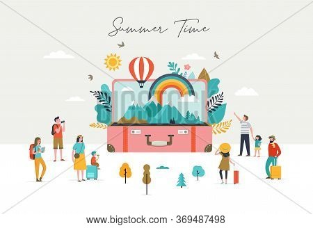 Summer Scene, Group Of People, Having Fun Around A Huge Open Suitcase With Travel Scene, Mountains,