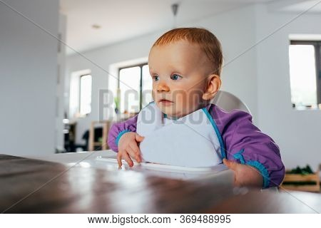 Portrait Of Baby Girl Sitting At Dining Table. Cute Little Child Wearing Bib Sitting On Highchair In