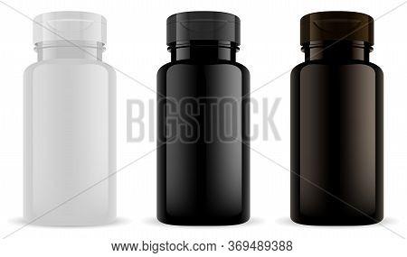 Supplement Bottle. Vitamin Pill Jar Mockup Black, Bown Plastic. Pharmaceutical Container For Capsule