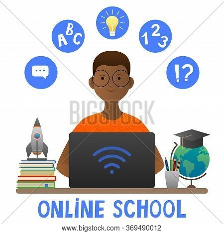 Online Learning. African American Boy At The Computer. The Concept Of Home Schooling On The Internet